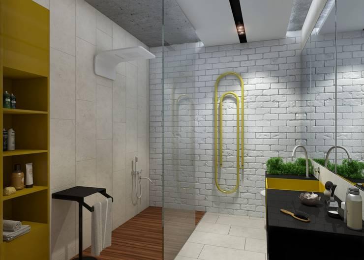 Проект апартаментов для молодой пары с ребенком: Ванные комнаты в . Автор – Mebius Group