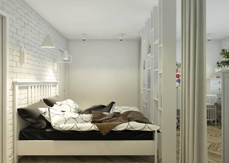 Проект апартаментов для молодой пары с ребенком: Спальни в . Автор – Mebius Group