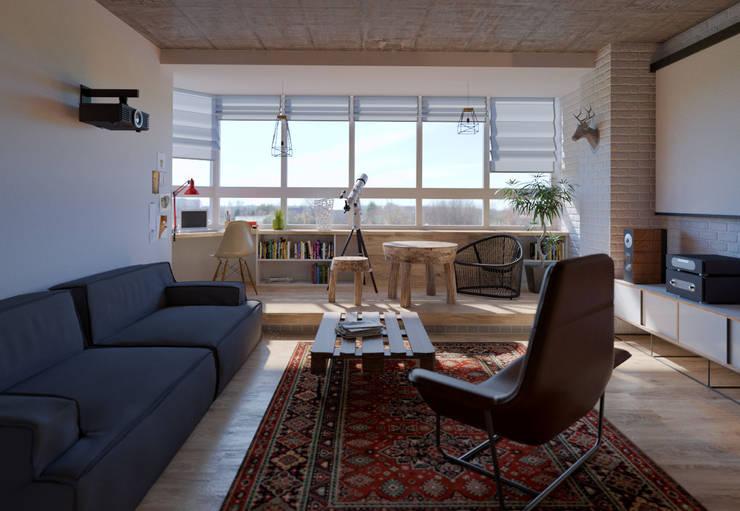 Проект квартиры в стиле эклектичного минимализма: Гостиная в . Автор – Mebius Group