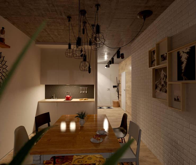 Проект квартиры в стиле эклектичного минимализма: Кухни в . Автор – Mebius Group