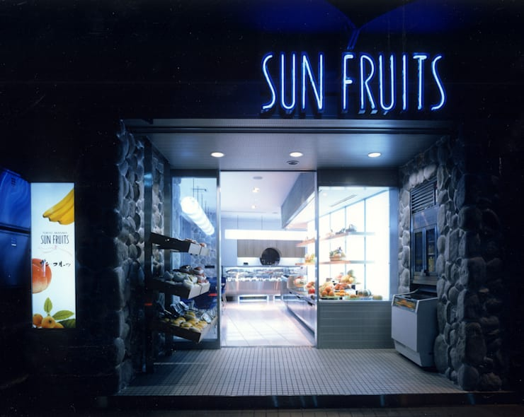 フルーツショップ「サンフルーツ」: ミズタニ デザイン スタジオが手掛けたオフィススペース&店です。,