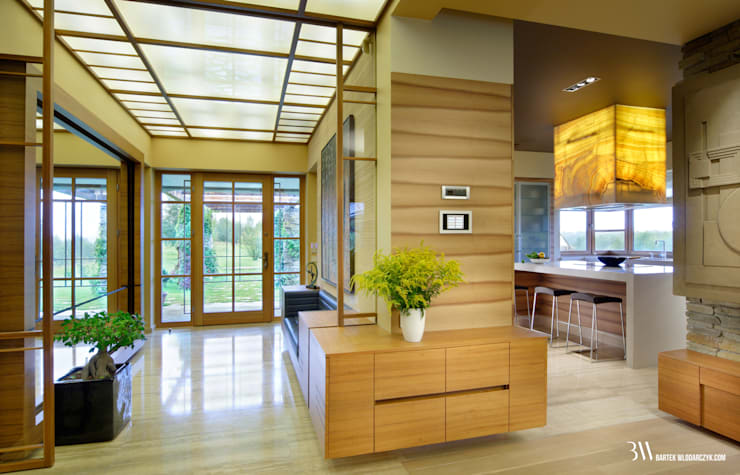 Pasillos, vestíbulos y escaleras modernos de Bartek Włodarczyk Architekt Moderno