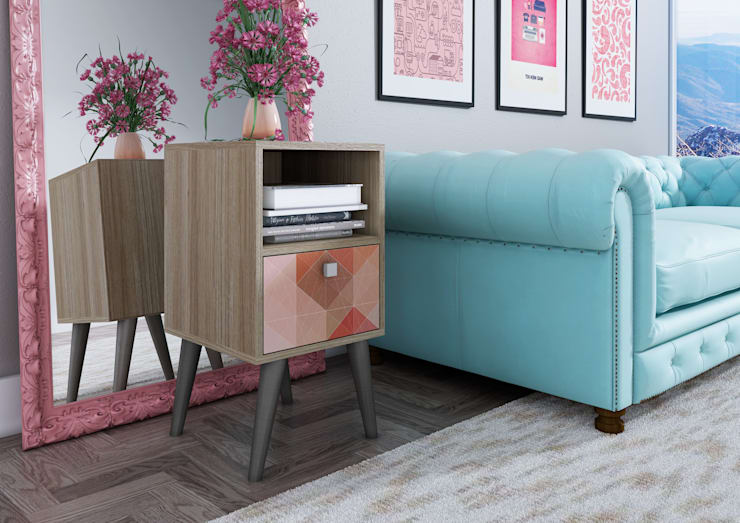 Mesa de apoio BPP 41 - Carvalho com adesivo e pés pinhão: Casa  por BRV Móveis