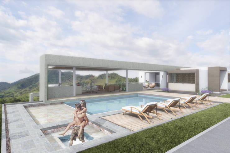 Zona húmeda: Piscinas de estilo  por Ar4 Arquitectos, Minimalista
