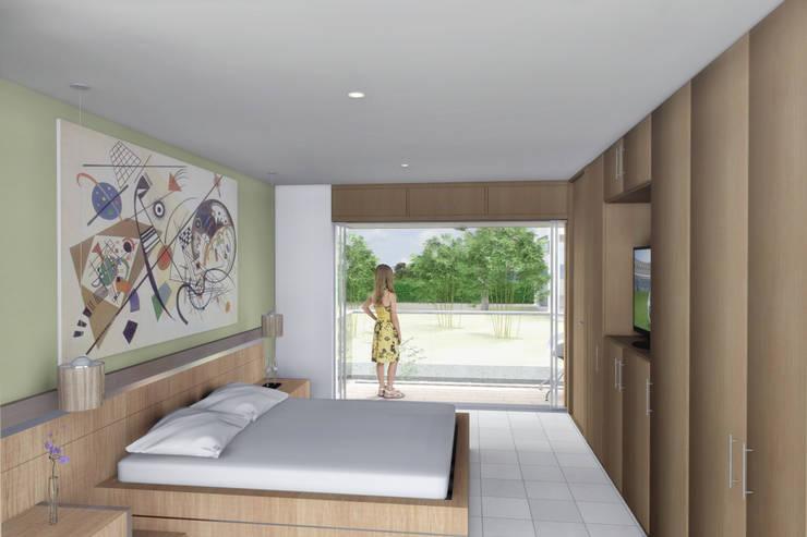 Habitación Principal: Habitaciones de estilo  por Ar4 Arquitectos, Minimalista