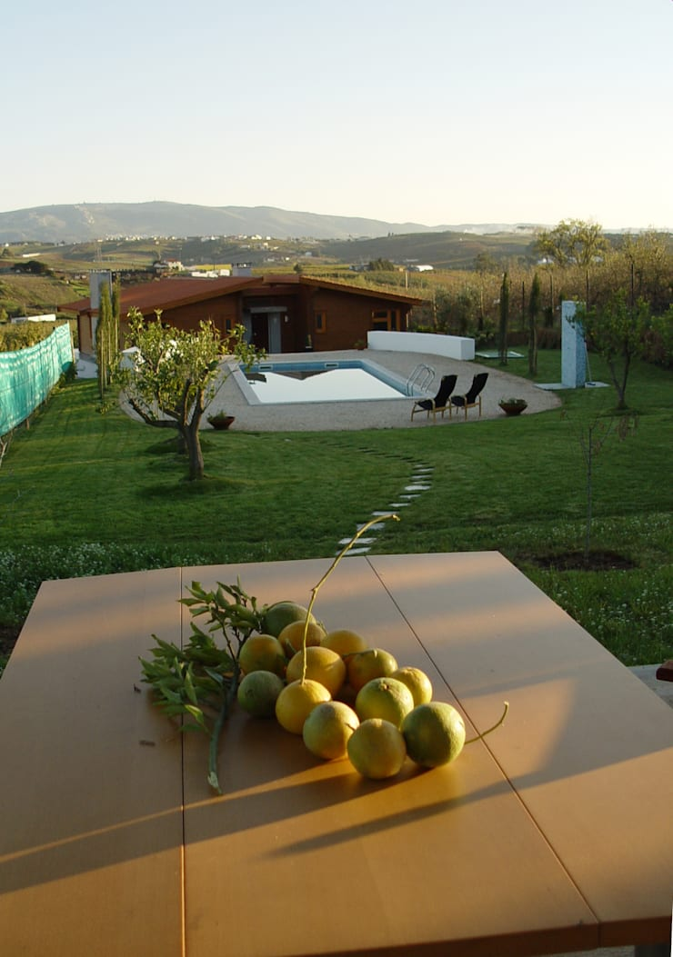 Moradia no Cadaval: Jardins  por MIGUEL VISEU COELHO ARQUITECTOS ASSOCIADOS LDA