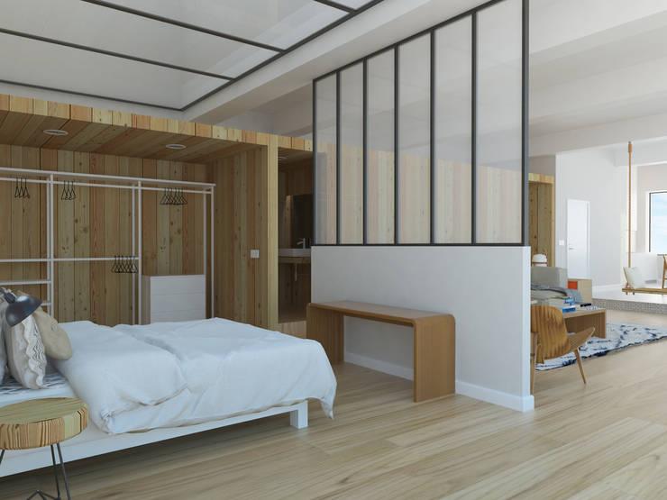 MINILOFT EN CUATRO CAMINOS: Dormitorios de estilo escandinavo de ESTUDIO BAO ARQUITECTURA