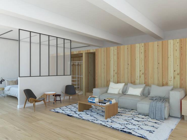 MINILOFT EN CUATRO CAMINOS: Salones de estilo escandinavo de ESTUDIO BAO ARQUITECTURA