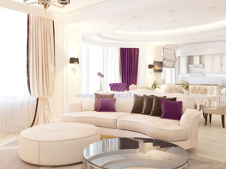 Дизайн проект гостиной в квартире в ЖК Тихвин от Батенькофф: Гостиная в . Автор – Дизайн студия 'Дизайнер интерьера № 1', Классический Бумага