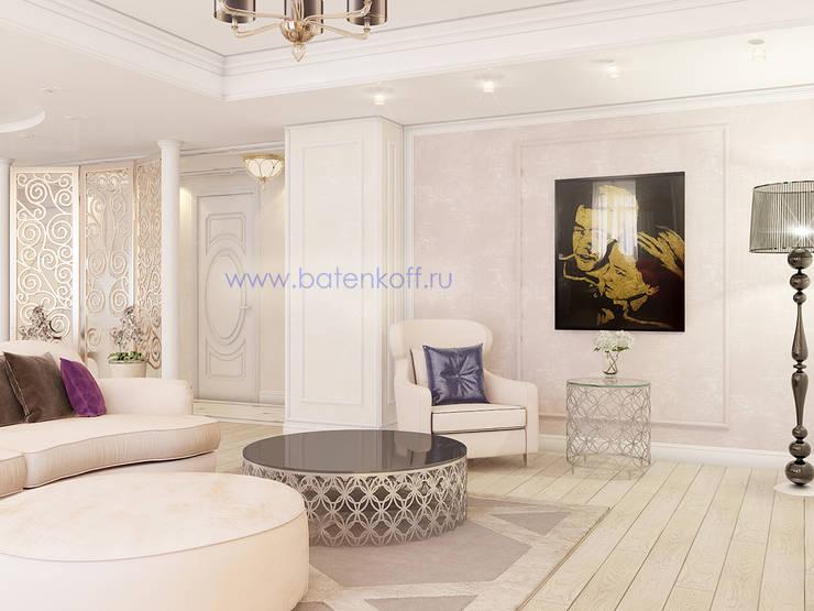 Дизайн проект гостиной в квартире в ЖК Тихвин от Батенькофф: Гостиная в . Автор – Дизайн студия 'Дизайнер интерьера № 1', Классический МДФ