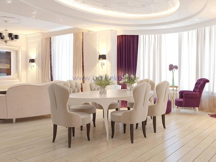 Дизайн проект гостиной в квартире в ЖК Тихвин от Батенькофф: Столовые комнаты в . Автор – Дизайн студия 'Дизайнер интерьера № 1', Классический Бумага