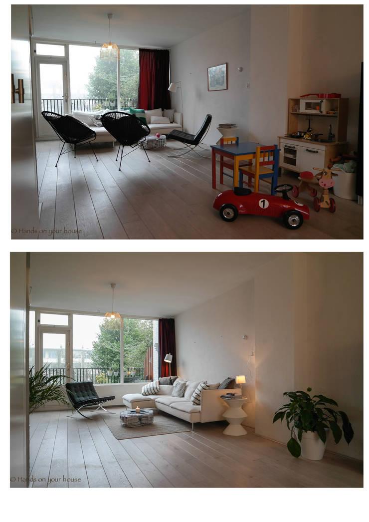 Woonkamer voor en na verkoopstyling:   door HANDS ON YOUR HOUSE