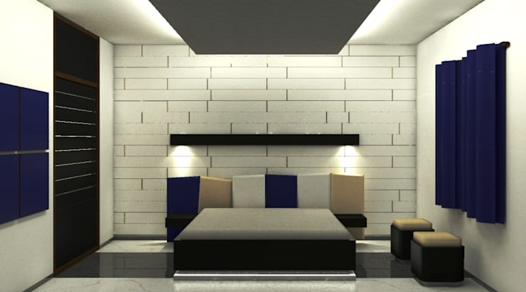 Residence : Ranjit Avenue:  Bedroom by TULI ARCHITECTS AND ENGINEERS