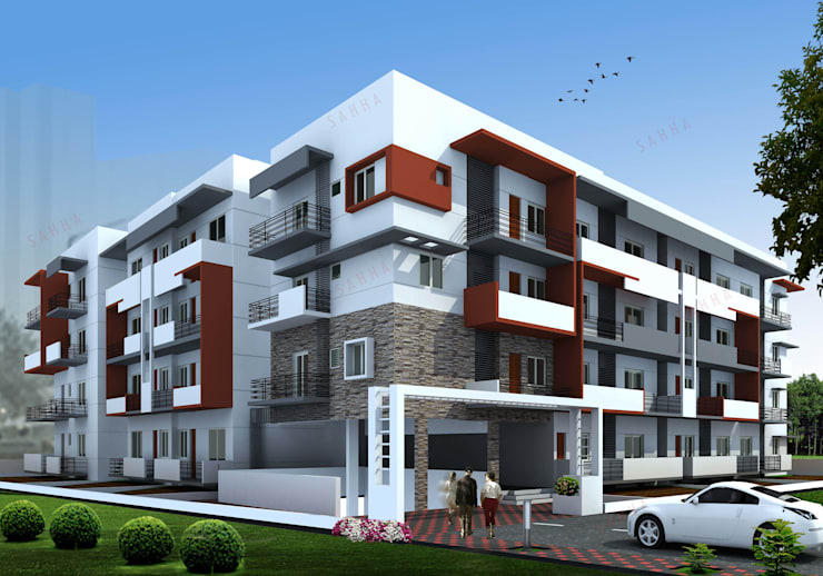 SK Briar apartment at Electronic city:  Houses by SAHHA architecture & interiors