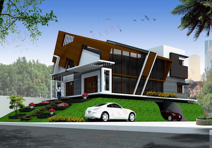 Ramchandra's villa at Bidadi:  Houses by SAHHA architecture & interiors
