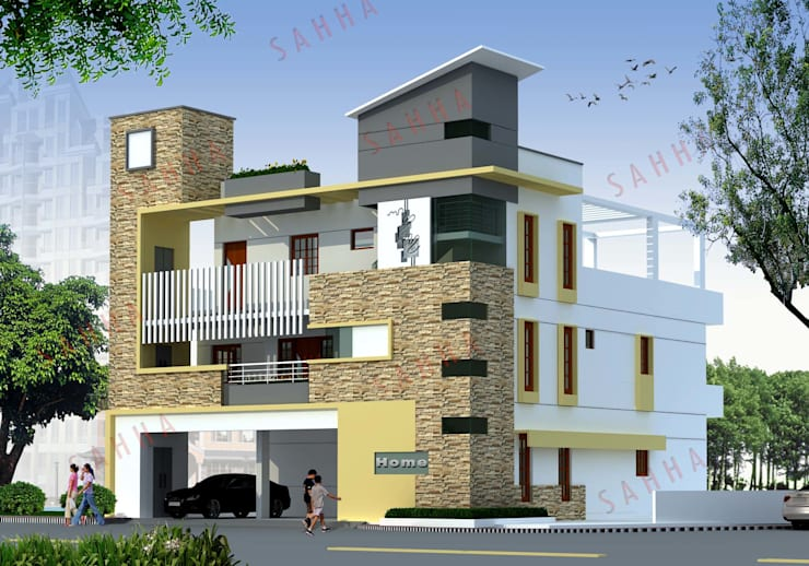 Pasupuleti's villa at AP: asian Houses by SAHHA architecture & interiors