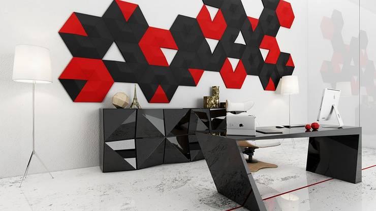 Wzór Isos zaaranżowany na ścianie.: styl , w kategorii  zaprojektowany przez FLUFFO fabryka miękkich ścian