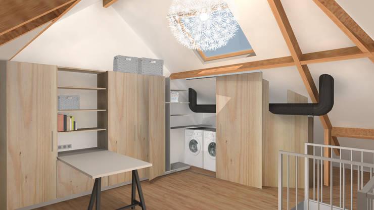 Zolderontwerp: moderne Slaapkamer door Ontwerpbureau Op den Kamp