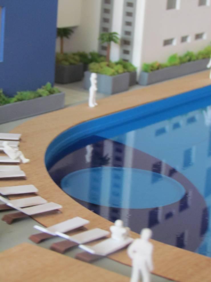Alberca:  de estilo  por Constructora e Inmobiliaria Catarsis