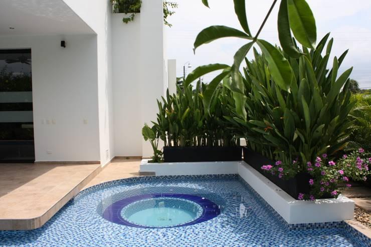 jacuzzi y espejos de agua.: Piscinas de estilo moderno por Camilo Pulido Arquitectos