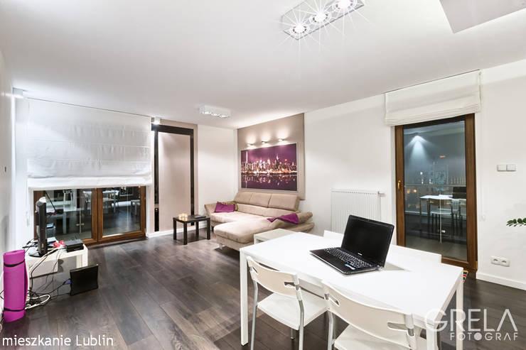 mieszkanie ul.Generała Augusta Fieldorfa Lublin: styl , w kategorii Salon zaprojektowany przez Auraprojekt,Nowoczesny