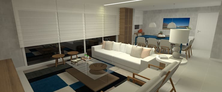 SALA AZUL:   por Carolina Mendonça Projetos de Arquitetura e Interiores LTDA