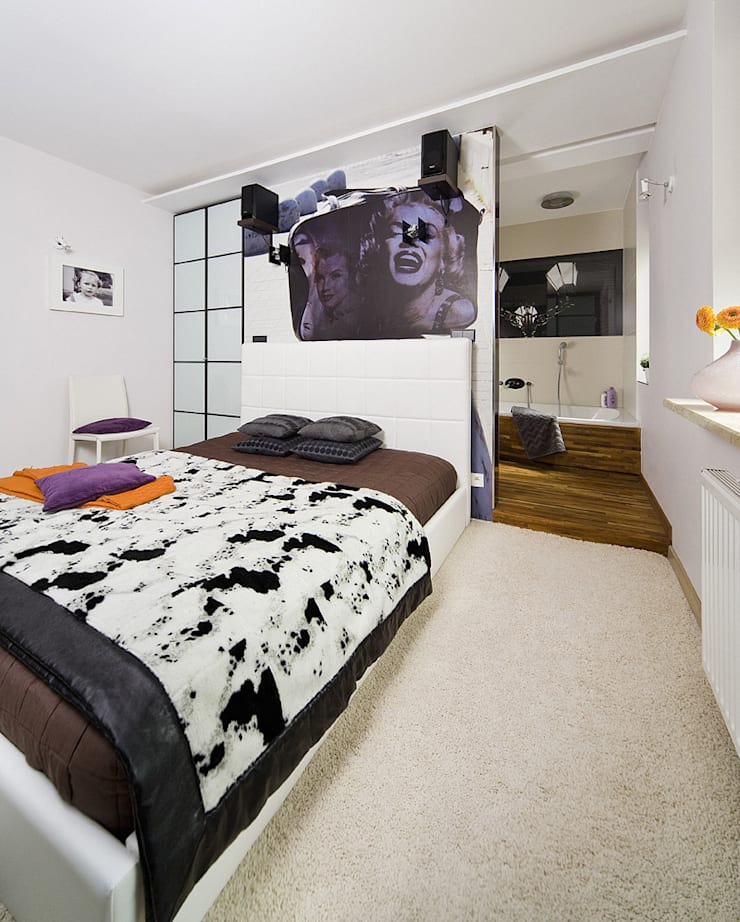 Z japońskim akcentem: styl , w kategorii Sypialnia zaprojektowany przez ZIZI STUDIO Magdalena Latos,Nowoczesny