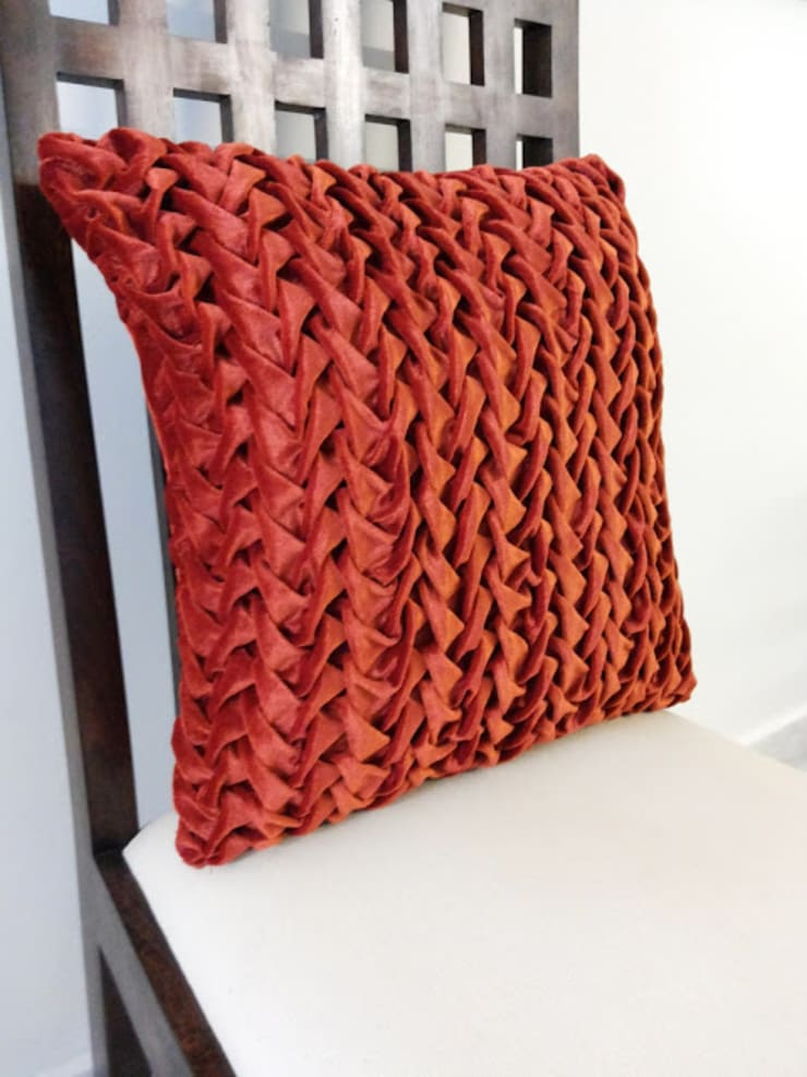 16x16 Rust Decorative Throw Pillow Cover Canadian Smocking Textured Pillow Cover Velvet Pillow Holiday Pillow: classic Bedroom by KnotnStitch