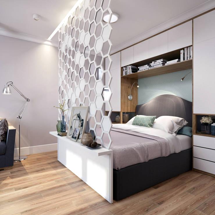Медовая геометрия_гостиная в современном стиле: Гостиная в . Автор – CO:interior, Скандинавский
