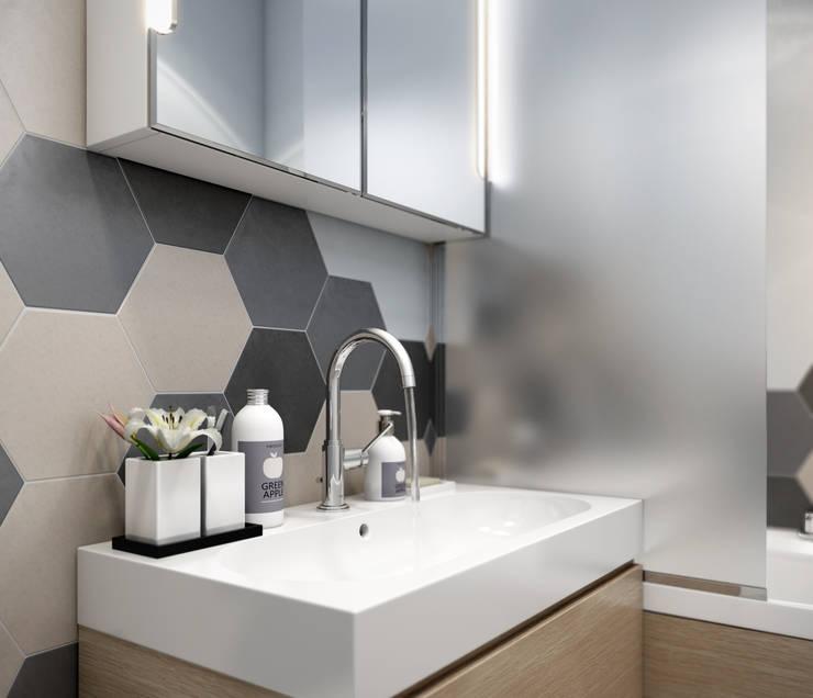 Медовая геометрия_ванная в современном стиле: Ванные комнаты в . Автор – CO:interior, Скандинавский