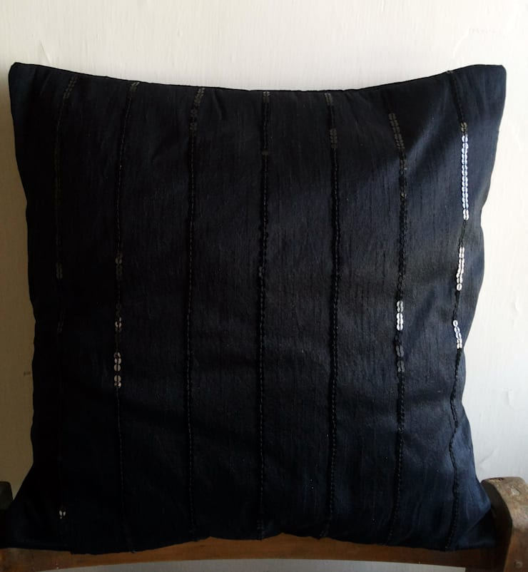 16x16 Black Art Silk Dupioni Cushion Cover embellished with Black Sequins: eclectic Bedroom by KnotnStitch