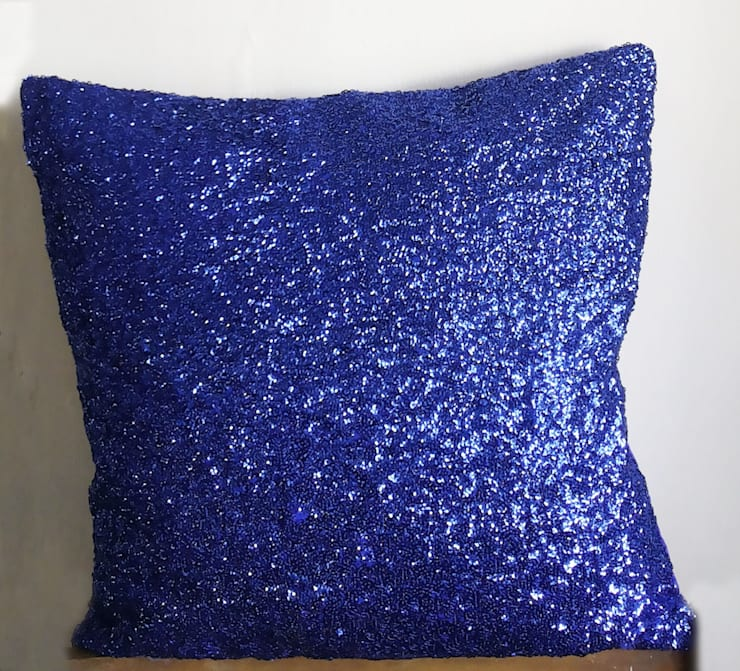 16x16 inches Royal Blue Sequins Decorative Throw Pillows : classic Bedroom by KnotnStitch