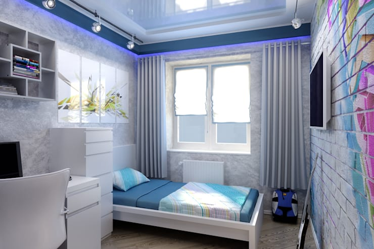 Современная детская : Детские комнаты в . Автор – Цунёв_Дизайн. Студия интерьерных решений., Лофт