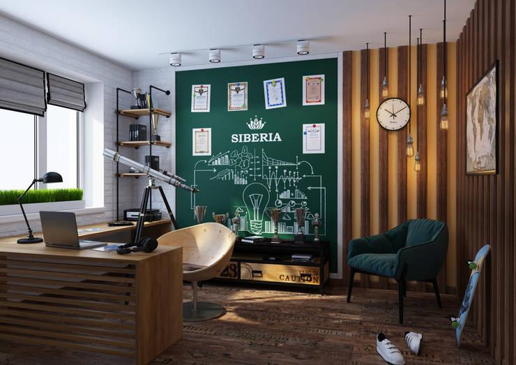 Комната молодого ученого: Рабочие кабинеты в . Автор – Katerina Butenko, Лофт Дерево Эффект древесины