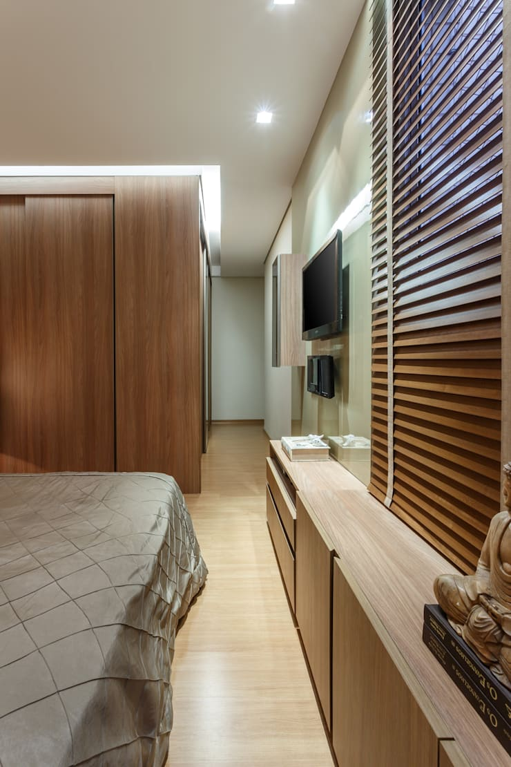 Apartamento Alphavile: Quartos  por Morávia - Arquitetura e Interiores