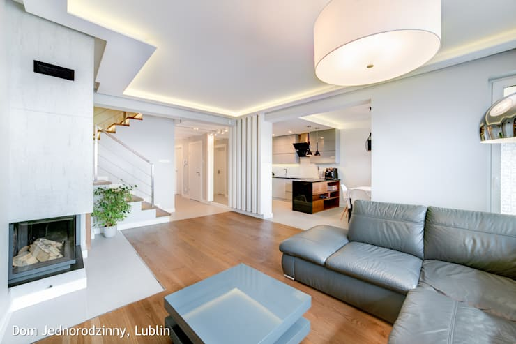 dom ul.Goplan Lublin: styl , w kategorii Salon zaprojektowany przez Auraprojekt