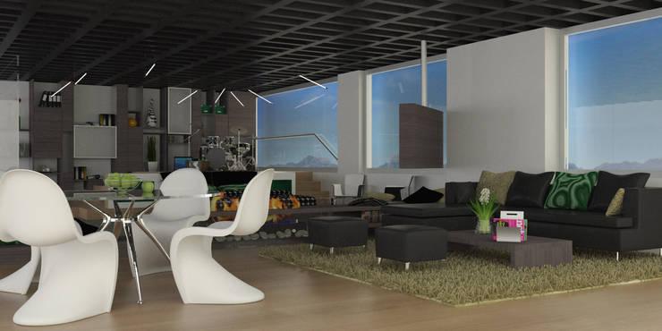 APARTAMENTO MUSEO: Salas de estilo  por santiago dussan architecture & Interior design