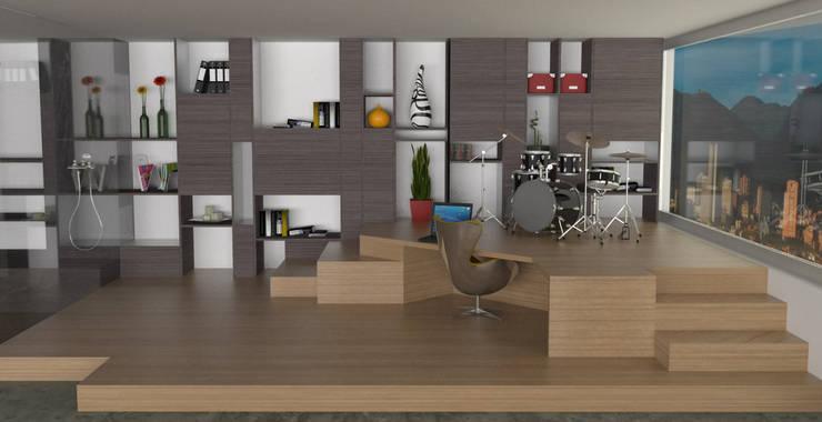 APARTAMENTO MUSEO: Estudios y despachos de estilo  por santiago dussan architecture & Interior design