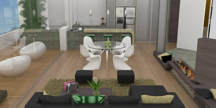 APARTAMENTO MUSEO: Comedores de estilo  por santiago dussan architecture & Interior design