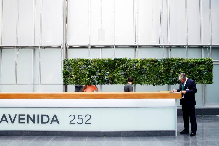 JARDIM VERTICAL ARTIFICIAL LISBOA AVENIDA DA LIBERDADE 252: Escritórios  por Wonder Wall - Jardins Verticais e Plantas Artificiais