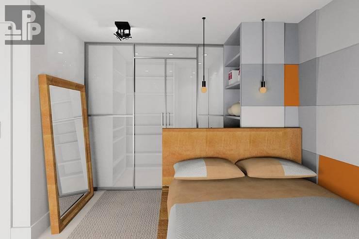 Wizualizacja. Panele Cube w Sypialni.: styl , w kategorii Hotele zaprojektowany przez FLUFFO fabryka miękkich ścian