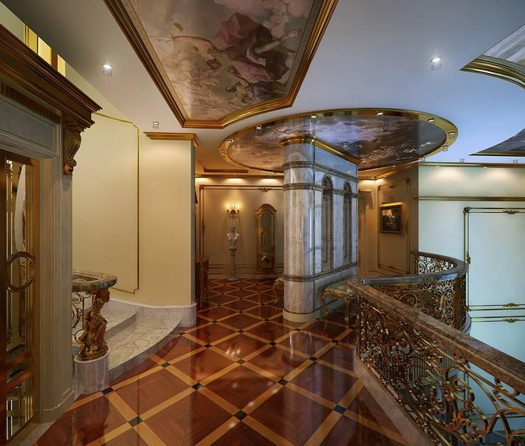 Golden house.: Коридор и прихожая в . Автор – Design studio of Stanislav Orekhov. ARCHITECTURE / INTERIOR DESIGN / VISUALIZATION., Классический