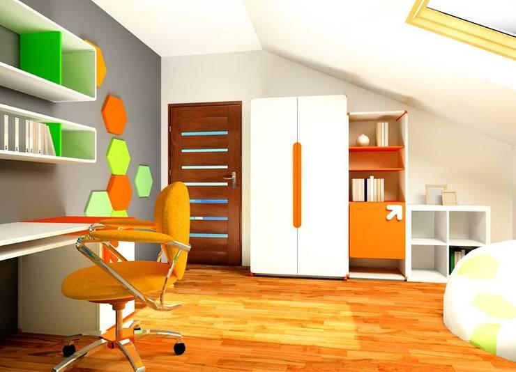 Wizualizacja. Mieszkanie prywatne. Panele Hexa.: styl , w kategorii  zaprojektowany przez FLUFFO fabryka miękkich ścian