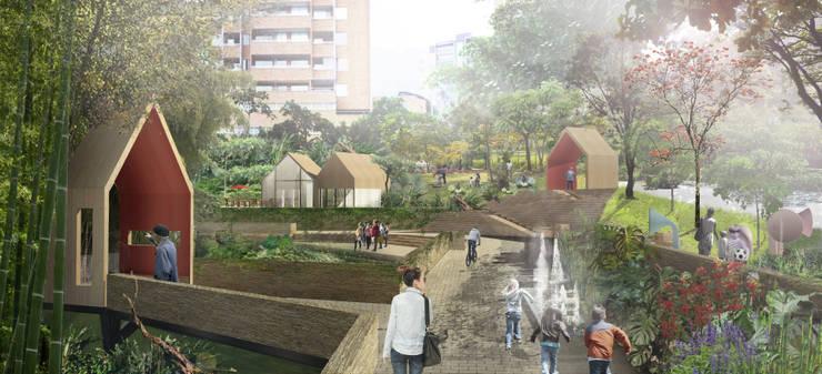 Parque Lineal del esmeraldal: Jardines de estilo  por Labranza Arquitectura, Tropical