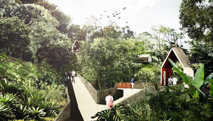 Parque Lineal del esmeraldal: Jardines de estilo tropical por Labranza Arquitectura