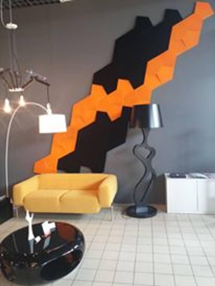 Realizacja. Panele Chain w poczekalni.: styl , w kategorii Biurowce zaprojektowany przez FLUFFO fabryka miękkich ścian