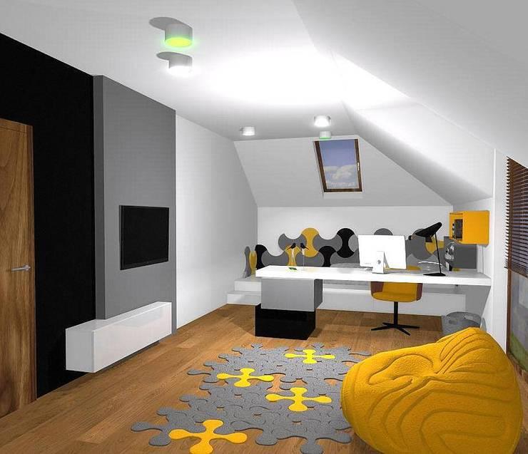 Wizualizacja. Panele akustyczne Bounce.: styl , w kategorii Pokój multimedialny zaprojektowany przez FLUFFO fabryka miękkich ścian,Nowoczesny