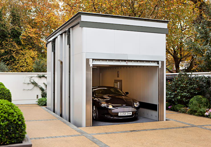 KSR Architects | Two Houses | Car lift: classic Garage/shed by KSR Architects