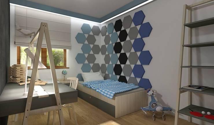 Wzór Hexa w pokoju. : styl , w kategorii  zaprojektowany przez FLUFFO fabryka miękkich ścian