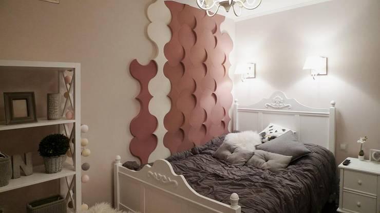 Aranżacja ściany w sypialni. Panele Twist.: styl , w kategorii  zaprojektowany przez FLUFFO fabryka miękkich ścian